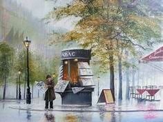 Jeff Rowland** is an British painter, known for romantic compositions of couples caught in the rain. Rowland was born the of January For biographical notes -in english and italian- and other works by Rowland, see: Jeff Rowland, 1964 Pop Art Studio, Train Drawing, Weather Art, Rain Photo, Rain Art, Beautiful Paintings, Impressionism, Watercolor Art, Retro Vintage