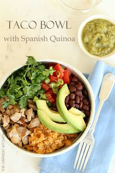 from The Harvest Kitchen THIS STREET TACO BOWL WITH SPANISH QUINOA IS A QUICK AND DELICIOUS LUNCH TO WHIP UP. DONE IN 20 - PERFECT EVERY TIME!