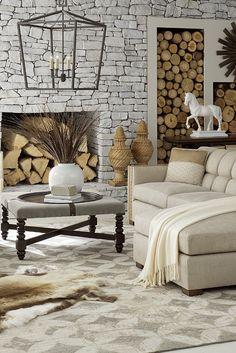 Neutral living room cream ottoman made easy Free Interior Design, Interior Ideas, Interior And Exterior, Ottoman In Living Room, Living Rooms, Living Room Decor, Decorating Small Spaces, Decorating On A Budget, Interior Decorating