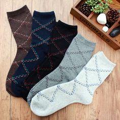 Men's Fall Winter Casual Business Rhombus Grid Comfortable Socks - Gchoic.com
