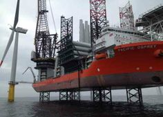 Offshore wind installation jack-up vessel Pacific Osprey has installed the first of 80 Siemens 3.6MW turbines at Vattenfall's 288MW DanTysk offshore wind farm in the German North Sea. The vessel can carry up to 11 turbines each trip (Courtesy Siemens).