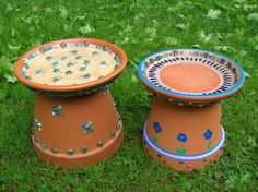 Make your own birdbath from Terra cotta planters