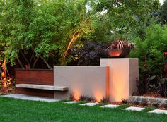 Stone ipe and concrete were combined beautifully to create a bold and contemporary landscape for this garden Instead of merely creating a simple retaining wall the design. Modern Landscape Lighting, Contemporary Landscape, Contemporary Design, Backyard Lighting, Outdoor Lighting, Lighting Ideas, Pathway Lighting, Modern Landscaping, Outdoor Landscaping
