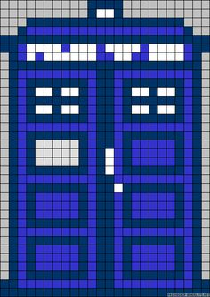 Doctor Who TARDIS perler bead (or cross stich) pattern