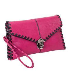 Look at this #zulilyfind! Raspberry & Black Whip-Stitch Clutch #zulilyfinds