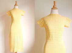 Rare Hand Crochet Knit Dress || Into the Sun || 1930s / 40s