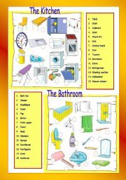 English Worksheets: The Kitchen / The bathroom