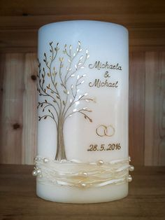 Hochzeitskerze Baum Photo Candles, Diy Candles, Mosaic Fireplace, Christmas Candle Decorations, Candle Making Business, Baptism Candle, Wedding Unity Candles, Bf Gifts, Candle Set