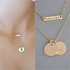 SALE 10% Layering Necklace Set, Rose Gold, 14k Gold Filled or Silver Two Disc and Bar Necklace Monogram, Set of 2 Necklaces by malizbijoux. Explore more products on http://malizbijoux.etsy.com