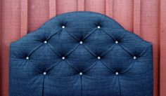 Single Bed Black Denim headboard - nicely tufted with Rhinestone buttoning Bedhead, Black Bedding, Headboards, Black Denim, Guest Room, Diy Furniture, Bling, Buttons, Interiors