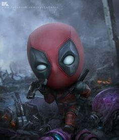 Deadpool by kuchu pack Chibi Marvel, Marvel Dc Comics, Marvel Heroes, Deadpool X Spiderman, Deadpool Funny, Dead Pool, Deadpool Wallpaper, Marvel Wallpaper, The Villain