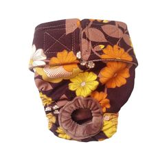 Dog Diapers - Made in USA - Brown and Yellow Flowers Washable Dog Diaper for Incontinence, Housetraining and Dogs in Heat ** Click image to review more details. (This is an affiliate link and I receive a commission for the sales)