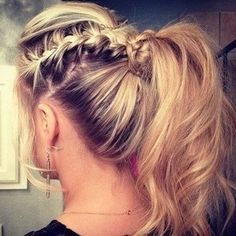 lovely braid/messy high pony tail
