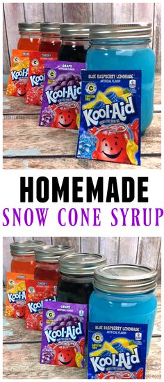 Homemade snow cone syrup recipe using kool-aid packets! Perfect for summer. Homemade snow cone syrup recipe using kool-aid packets! Perfect for summer. Frozen Desserts, Frozen Treats, Frozen Drinks, Frozen Fruit, Kool Aid Packets, Snow Cone Stand, Sno Cones, Bento, Yogurt