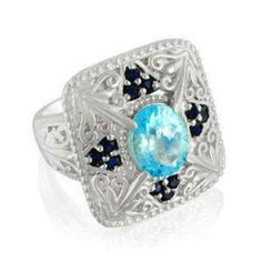 Blue TOPAZ and Blue SAPPHIRE  Ring 12.88 gr size 7  #Unbranded #SolitairewithAccents #ebay  http://www.ebay.com/itm/271786223923?ssPageName=STRK:MESELX:IT&_trksid=p3984.m1558.l2649
