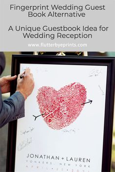Celebrate Your Wedding Guests with This Unique Guest Book Alternative There's really nothing more personal than your fingerprint. As we all know, every fingerprint is unique and this keepsake uses it as a symbol for two individuals joining together to create a new and unique life together! And perhaps you don't want your guests to sign on your new keepsake…luckily, the timeless and modern designs also make a wonderful wedding welcome sign and look great in your home. Softball Wedding, Basketball Wedding, Golf Wedding, Wedding Welcome Signs, Wedding Signs, Wedding Guest Book Alternatives, Wedding Ideas, Fingerprint Wedding, Guest Books
