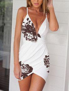 White Deep V Neck Hibiscus Floral Dress
