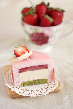 Chaleur entremet- strawberry, white chocolate and pistachio mousse cake
