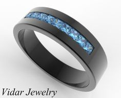 Black Gold Blue Diamond Wedding Band For A Men by Vidarjewelry, $2500.00