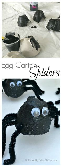 Egg Carton Spider Craft - Perfect for Halloween or a unit on Bugs! - KidFriendlyThingsToDo.com