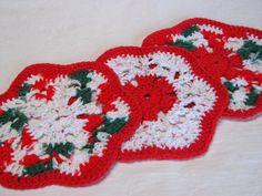 Crocheted Christmas Cotton Dishcloths red by CozyCornerCrochets, $10.00