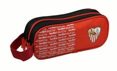 Sevilla FC Portatodo Triple - Portatodo triple con los colores del Sevilla FC, Medidas: 21x7.5x8cm