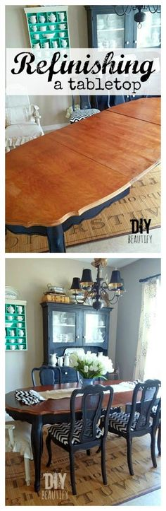 Refinishing a dining table www.diybeautify.com