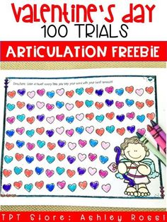 Free activity for Valentine's Day in speech therapy - easily get 100 trials in Articulation therapy! Color or use conversation hearts!