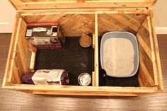 All in One Cat Box — MonoLoco Workshop Dog Proof Litter Box, Cat Litter Box Diy, Enclosed Litter Box, Diy Cat Tower, Cat Habitat, Cat Care Tips, Pet Care, Pet Tips, Cat Towers