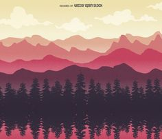 Illustrated nature landscape featuring mountains, trees and clouds. Designed in…