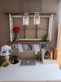 Rustic Living: Our Little Nook - repurposed one window frame, boards, stairwell banisters and even mason jars into reclaimed rustic command center area Diy Projects To Try, Home Projects, Old Window Frames, Window Desk, Blogger Home, Decoration Inspiration, Old Windows, Vintage Windows, My New Room