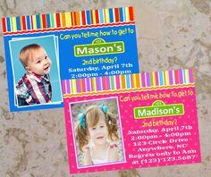 Krystal Benham- these are amazing! Sesame Street Birthday Invitation Girl Boy  by PeriwinklePress, $8.99