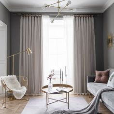 Layered Curtains, Pleated Curtains, Blackout Curtains, Window Curtains, Valance, Blush And Grey Living Room, Living Room White, Living Room Windows, Blue And Green Curtains