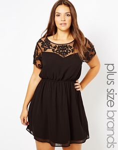 Image 1 ofNew Look Inspire Embroidered Mesh Insert Dress