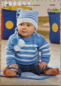 Babies Striped Jumper, Blanket and Bobble Hat DK Knitting Pattern