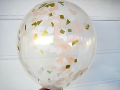 Confetti Filled Balloons, Peach, White and Gold, Confetti Balloons, 1st Birthday, Photo Prop, Bridal Shower, Baby Shower, Blush, Wedding
