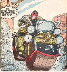 JohnWagner and Carlos Ezquerra, Judge Dredd Sci Fi Comics, Marvel Dc Comics, Funny Comics, Vintage Humor, Vintage Comics, Judge Dread, 2000ad Comic, Art Spiegelman, Comics Toons