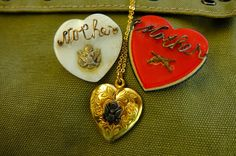 WW2 sweetheart jewelry http://littlemissbamboo.blogspot.be/2014/12/more-vintage-gems.html ~