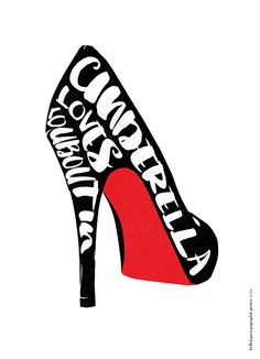 Typographic Poster Art Cinderella loves Louboutin by HelloTypo