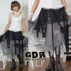 PUNK DOLLY GOTHIC KERA Lolita LACE SKIRT 61121 BLACK WHITE