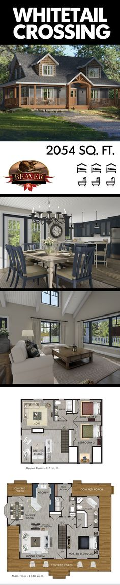 The Whitetail Crossing model is a welcomeing multi-story home, complete with a large wrap-around covered porch. With 3 #bedrooms and a loft, it makes a perfect home for a #family that is expanding. #BeaverHomesAndCottages.