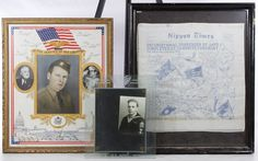 "Lot 373: World War II Framed Souvenir Assortment; Three items including a color tinted soldier photo in a ""Service of his Country"" frame, a US Army embossed photo frame and a printed silk copy of the Nippon Times announcing the Japanese surrender"