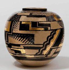 Art Deco glazed and gilt earthenware vase 1925  Rene BUTHAUD  (Sotheby's – sold ) (hva)