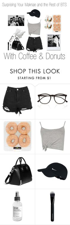 """""""Surprising Your Maknae and the Rest of BTS w/ Coffee & Donuts"""" by pastelsandflowers ❤ liked on Polyvore featuring Boohoo, Illesteva, Givenchy and NIKE"""