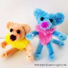 pipe cleaner animals - a mouse and a dog. or a bear :)