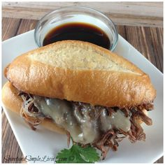 French Dip Recipe so easy because it's made in the crockpot. Check it out at SweetandSimpleLiving.com