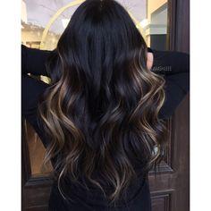 Brown Hair Balayage, Hair Color Balayage, Blonde Balayage, Hair Highlights, Color Highlights, Chunky Highlights, Dark Hair Caramel Highlights, Black Hair With Lowlights, Black Hair With Brown Highlights