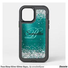Faux Shiny Silver Glitter Aqua Teal Foil Monogram OtterBox iPhone Case