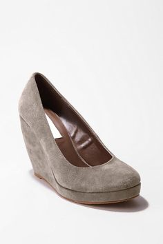 Grey suede platform wedges
