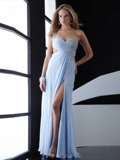 Sheath/Column One Shoulder Floor-length Chiffon Prom Dress with Beading